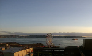 Seattle Waterfront Webcam SWW Ferry Boat at Twilight 08 03 2018