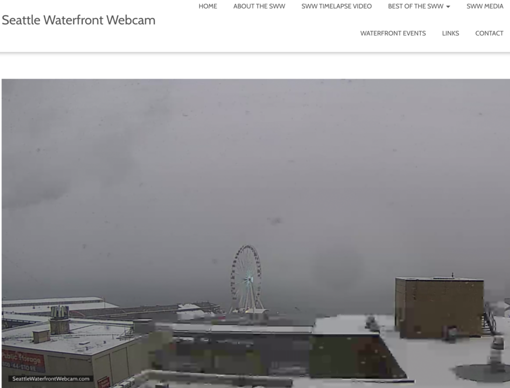Seattle Waterfront Webcam White-Out Conditions 02 10 2019